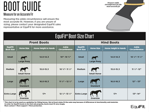 EquiFit Essential EveryDay Hind Boot Size Chart